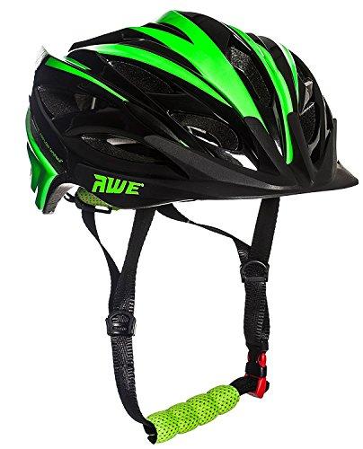 AWE AWEBlade Sostituzione di Crash Gratis 5 Anni * nello Stampo di Ciclismo su Strada Ragazzi Casco Nero Verde 52-56cm
