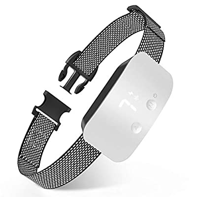 NBJU Bark Collar for Dogs,Rechargeable Anti Barking Training Collar with 7 Adjustable Sensitivity and Intensity Beep Vibration for Small Medium Large Dogs (White)