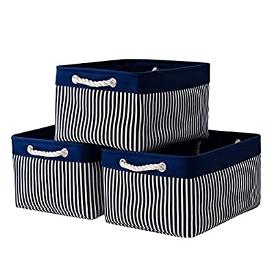 Jtirey Storage Baskets Fabric Storage Bins [3-Pack] Baskets for Gifts Decorative Baskets for Home, Office, Closet, Nursery Storage Basket Collapsible Storage Basket with Rope Handles(15.7Lx11.8Wx8.3H)