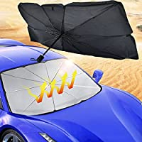 車のフロントガラスのサンシェードの傘、折りたたみ式Sun Visor Protector Block UV車のフロントウィンドウ傘サンシェードが店舗のほとんどの車両にフィット