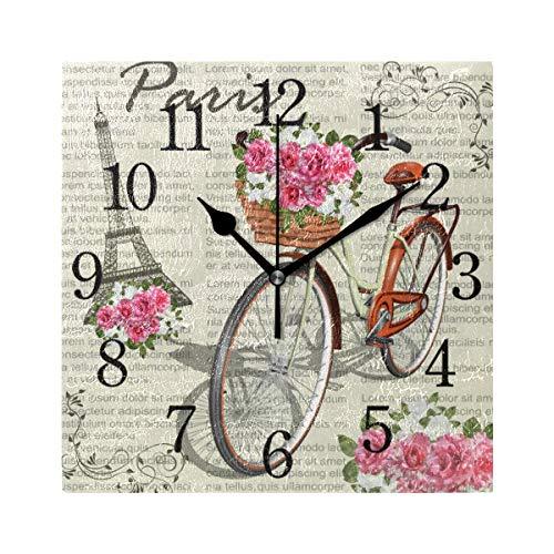 WowPrint Paris Eiffeltower Fahrrad Blumen Muster Wanduhr Arabisch Ziffer, Leise, Ohne Ticken, Quadratische Wanduhren, Wohnaccessoires, Wohnzimmer, Badezimmer, Schlafzimmer, Küche, Büro Deko