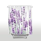 EZON-CH Anpassen Wasserdicht Polyester-Lila Lavendel Blumen-Badezimmer Dusche Vorhang 54x78 Color 2