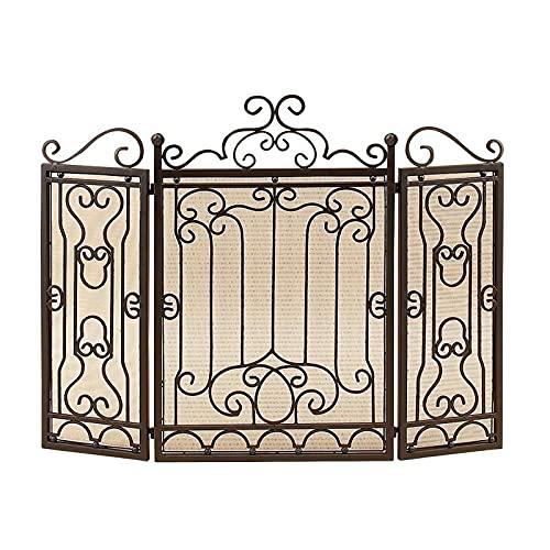 PTY Salvachispas Chimenea Panel de fuego de hierro plegable de 3 paneles,...
