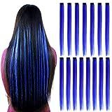 15Pcs Blu Clip di estensioni dei capelli lisci di colore in 20 pollici Clip sintetica blu nelle estensioni dei capelli Punti salienti del partito Clip sintetica in parrucchino lungo per le donne