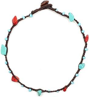 Idin - Cavigliera realizzata a mano-Cordoncino cerato con perline blu e pietre in rosso corallo e turchese.