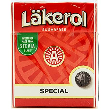 12-Pack Lakerol Special Menthol Licorice Sugar Free Pastilles Stevia Candy 0.88-ounce Packages