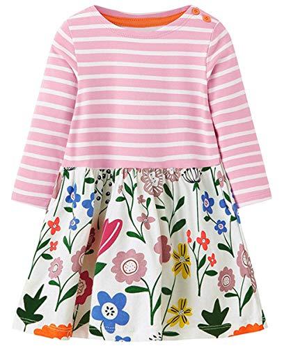 lymanchi Kid Girls Cotton Casual Longsleeve Cartoon Stripe Cute Dresses Tunics A 3T