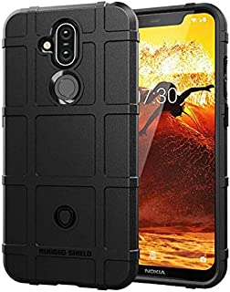 Nokia 8.1 case shield shape Silicone soft phone shell anti fall protective sleeve black cover