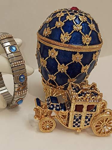 Fabergé - Decoración para el hogar con diseño de huevo de Fabergé para el hogar, regalo para el propietario de Newhome, adorno de huevo ruso Fabergé para padres, oro de 24 quilates, pulsera de plata