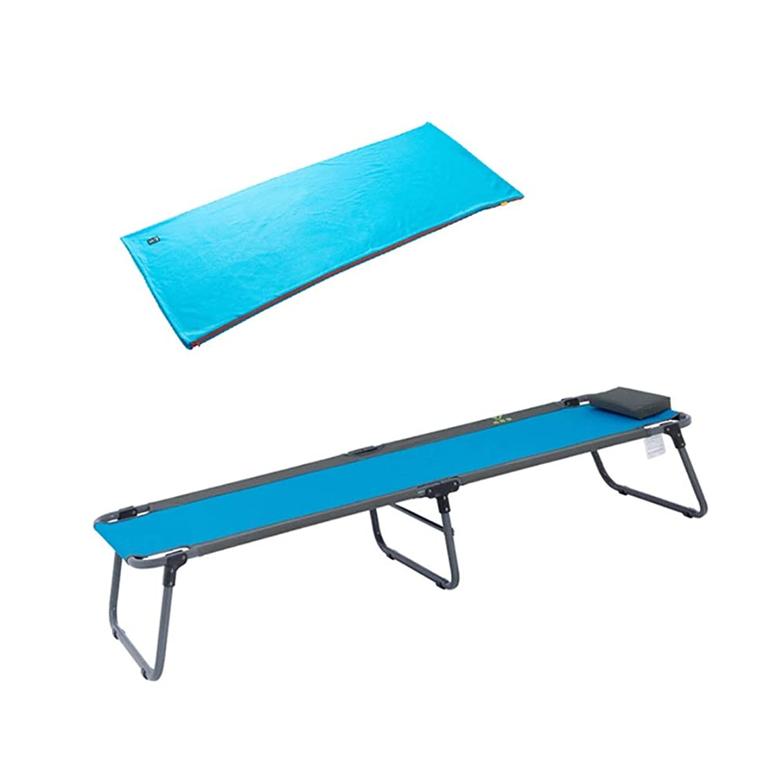 スチュワーデスエレベーター先生屋内と屋外での使用のための枕と昼休みのキルトが付いている折りたたみ式キャンプ用簡易ベッド - 超軽量、快適、青