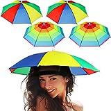 Frienda 8 Pezzi Cappello dell'Ombrello Arcobaleno Cappello da Sole dell'Ombrello Regolabile Cappello Ombrello per Adulti Bambini Pesca all'Aperto Campeggio Giardinaggio