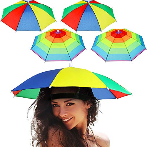 Frienda 8 Piezas Sombrero Paraguas Arcoiris Sombrero Parasol Gorro Paraguas Ajustables para Adultos Niños Pesca al Aire Libre Jardinería Cámping