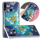LNLYY Galaxy A20S Funda Carcasa Suave Silicona TPU Case Cover Enchapado Mariposa para Samsung Galaxy A20S