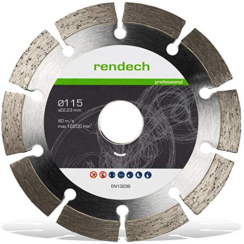 Rendech® Diamantscheibe 115mm für Beton, Granit, Stein uvm. Diamanttrennscheibe für Winkelschleifer Ø115x22,23 (Trennscheibe in Profi Qualität)