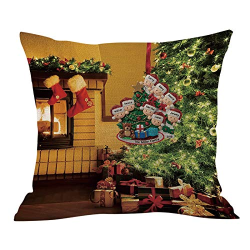 Padaleks 2020 Personalized Christmas Pillow Throw Covers Cotton Linen Xmas Decorative for Sofa Cushion Covers Home Decor (B, 18 x 18 Inches)