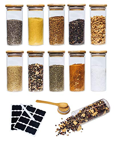 ARTEMS Vorratsgläser im 10er Set zur Aufbewahrung von Tee und Gewürzen mit Holzdeckel - Gewürzgläser zur Organisation in der Küche 10 x 200ml
