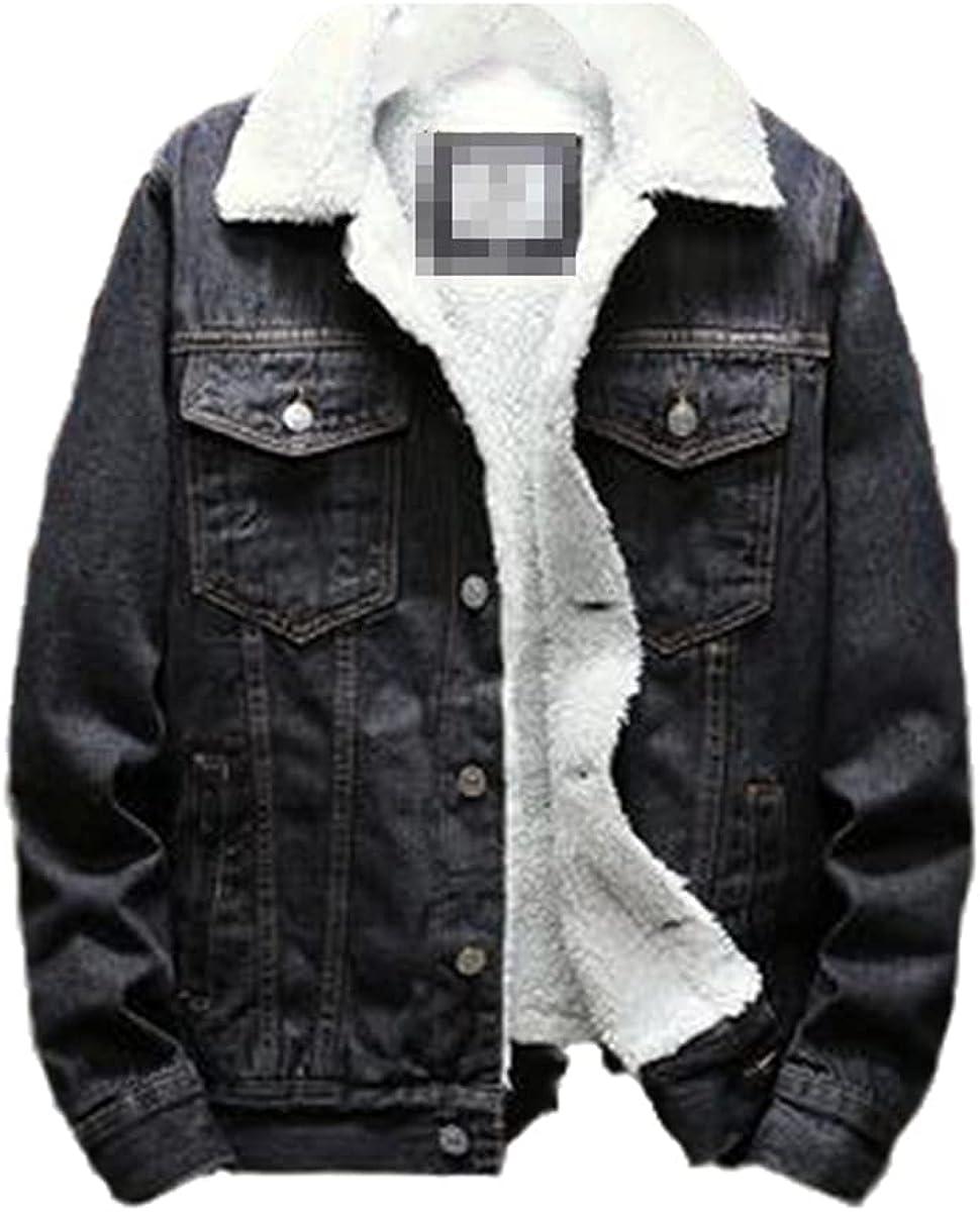 Men's Light Blue Winter Denim Jacket Jacket Warm Jacket Large Size Wool Lining Thick Winter Jacket