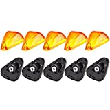 cciyu 5 Pack Roof Running Light Cab Marker Amber Cover Top Lamp Lens w/Bases Replacement fit for Replacement fit for Ford E-150 E-250 F-250 F-350 F-450 Super Duty