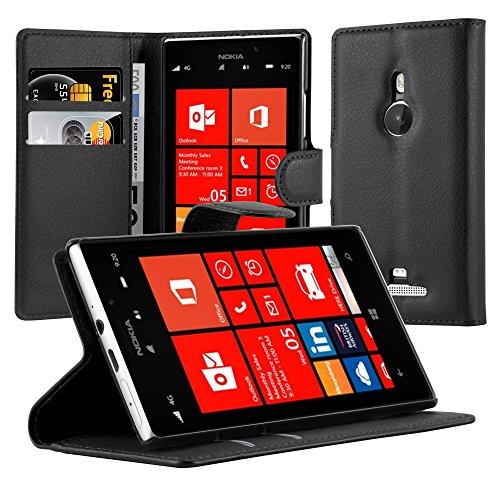 Cadorabo Hülle für Nokia Lumia 925 in Phantom SCHWARZ - Handyhülle mit Magnetverschluss, Standfunktion und Kartenfach - Case Cover Schutzhülle Etui Tasche Book Klapp Style