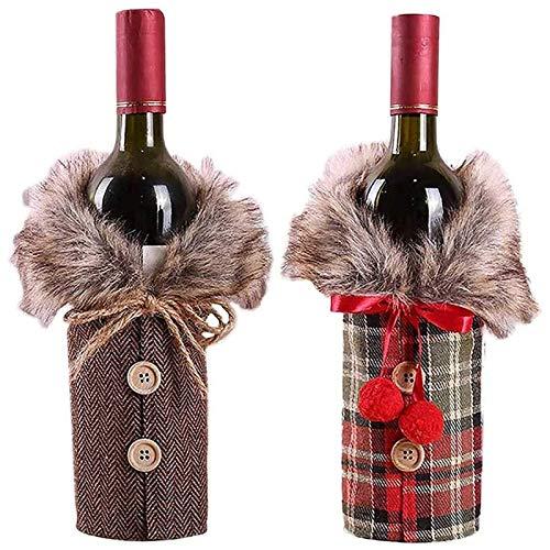 Tapa de botella de vino de Navidad, dos juegos de tapa de botella de copa de vino que cubren Bolsa de botella de vino de Navidad, con decoración navideña de estilo con cordón