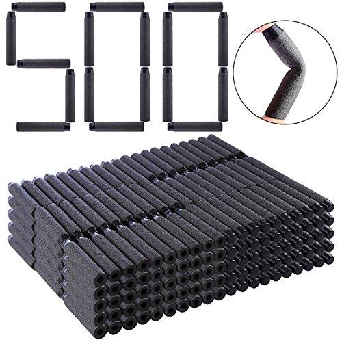 HYZH 500 Stück Foam Pfeile Patronen Darts Für Nerf N-Strike Elite Series Blasters Retaliator Schwarz