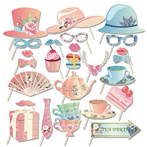 Kristin Paradise 25Pcs Tea Time Photo Booth Props with Stick, Floral Tea Ceremony Theme Selfie Props, Birthday Party Supplies, Photography Backdrop Decorations for Photobooth