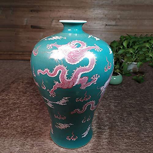 IENPAJNEPQN Hand Qing-Kaiser Kangxi Jahre Geld Drachen Flaschengrüne Keramikvase Belohnung Flasche Jahrgang Hauptdekorationen Glasur Werfen