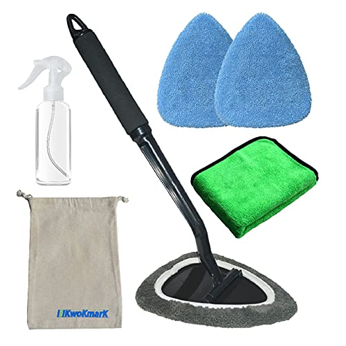 Windshield Cleaner Tool Car Window Cleaning Wand Glass Microfiber Brush Bigger Pad Thicker Softy Cloth, with Towel Spray Bottle Bag Kit Total 6 Pieces
