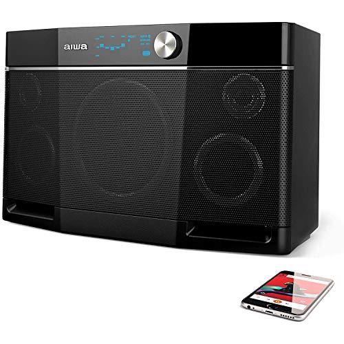 Aiwa Exos-9 Altavoz Bluetooth, subwoofer de 6.5'', sonido estéreo, música alta sin distorsión, altavoz inalámbrico, conector NFC, ecualizador gráfico, 9 horas de reproducción
