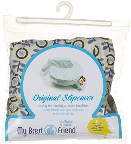My Brest Friend 100% Cotton Nursing Pillow Original Slipcover – Machine Washable Breastfeeding Cushion Cover - pillow not included, Sunshine Poppy (Grey & Yellow)