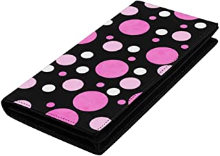 InterestPrint Women Leather Wallets Ladies Wristlet Bag with Card Slots, Clear Window Pink White Polka Dot Black