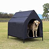Amazon Basics - Caseta para mascotas, elevada, portátil, grande, negra