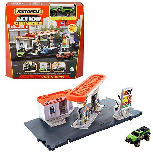 Matchbox Action Drivers Matchbox Fuel Station Playset for Kids 3 Years Old & Up, with 1 1:64 Scale Vehicle, Finger-Play Gas Pumps, & Can Connect to Other Sets