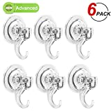 LUXEAR Suction Cup Hooks, 6 Pack Removable Suction Hooks, Powerful Waterproof Shower Hooks for Bathroom, Reusable Heavy Duty Vacuum Suction Hanger for Kitchen, Glass Door, Mirror, Tile, Loofah, Towel