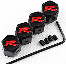 CHAMPLED New (4PC) R RED Logo Metal Black Anti-Theft Wheel TIRE AIR Valve STEM CAPS DUST Cover