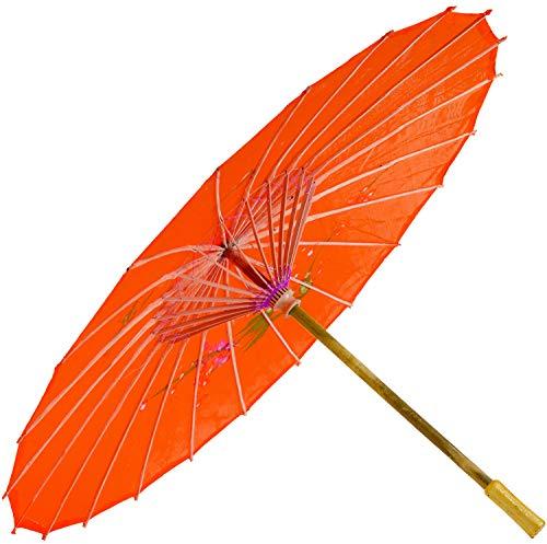 Chinesischer Schirm | Regen- & Sonnenschirm | authentische Bemalung in Handarbeit | Bambus Holz und traditionelle Bespannung: Farbe: rot