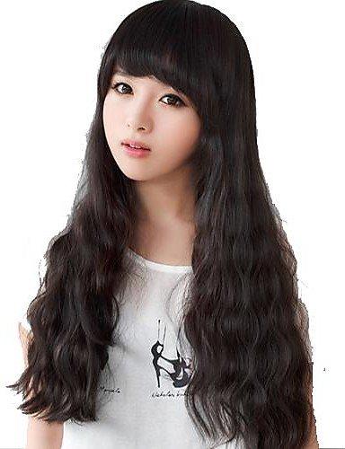 Perruques longues ondulées naturelles noires synthétiques pour femme