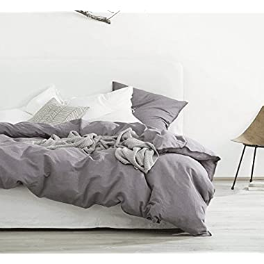 Eikei Washed Cotton Chambray Duvet Cover Solid Color Casual Modern Style Bedding Set Relaxed Soft Feel Natural Wrinkled Look (Queen, Dusty Grape)