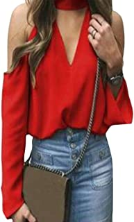 FRPE Womens Casual Long Sleeve Solid Color Cold Shoulder Top Blouse T-Shirt