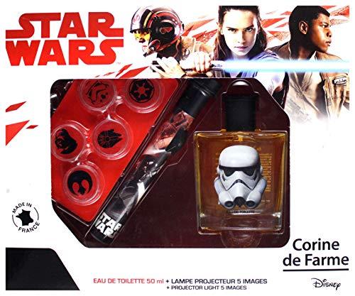 Corine de Farme, Star Wars, Coffret Cadeau, Parfum Enfant 50ml, Goodies, Lampe Projecteur, Fabriqué en France