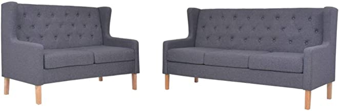 vidaXL Sofa Set 2 Piece Fabric Grey Couch Lounge Seat Living Room Furniture