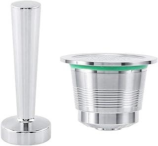 Kit Tamper à café pour Nespresso machine à café en inox + Capsule rechargeable de machine café nespresso en inox + Cuillèr...