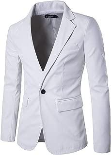 Leather Suit Coat Men's Single Row Buckle Blazer Jacket Classic PU Coat