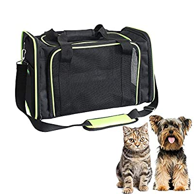GOOPAWS Soft-Sided Pet Travel Carrier, Airline Approved Cat Carriers Dog Carrier Collapsible, Durable, Top Loading, Car Seat for Dogs and Cats and Small Animal. 17''