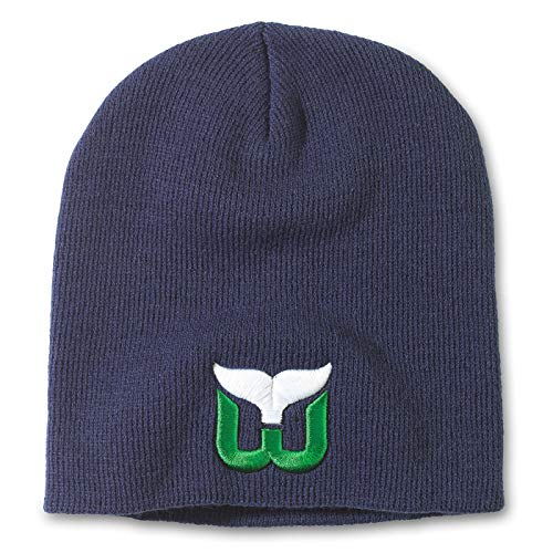 Zephyr Hartford Whalers Navy Blue Edge Skull Cap - NHL Cuffless Winter Knit Beanie Toque Hat