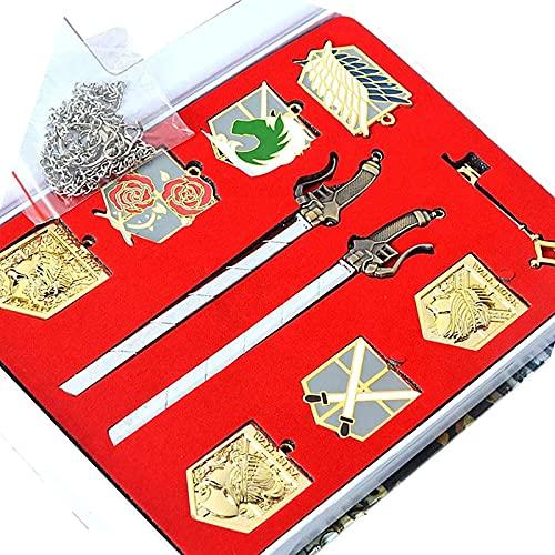 Aiiwqk 10 piezas atacante gigante shingeki no kyojin wall Maria rose Sina insignia de oro dos armas espada hoja colgante collar Allen collar llavero cosplay conjunto de joyas