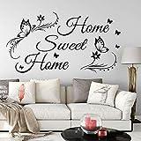 hetingyue Big Sweet Home Sticker Mural Citation Chambre Salon Maison Papillon Doux maternelle Sticker Mural vinyle 100x54cm