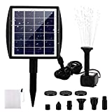 FREESOO Solar Fountain Pump, Solar Water Pump for Fountains with Panel 2.0W Solar Powered Fountain Pump Solar Pool Fountain Solar Pump Kit for Pond Bird Bath Pool Goldfish Patio Garden