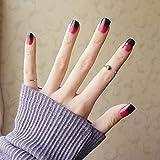 フルカバー偽爪、24本の女の子夏休みグラデーションブルーフェイクネイル甘いショートスクエアネイルアートのヒントで接着剤女性滑らかなフェイクネイルプレスオンスタイル8