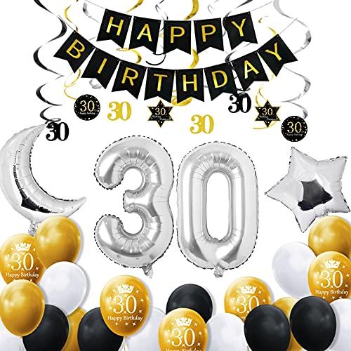DANXIAN 30 Geburtstag Dekoration Mann, Geburtstagsdeko Zahlen 30 Jahre Luftballons Silber folienluftballon mit Happy Birthday Banner Konfetti Luftballons für Mädchen JungenParty